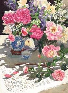 Peonies Roses &  Ming Teapot