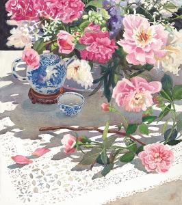 Peonies Roses Ming Teapot Detail