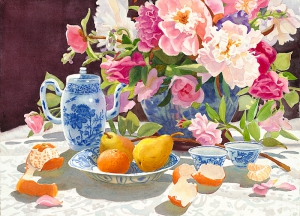 Peonies with Tea and Oranges