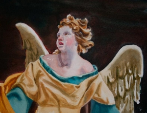 Polychrome Carved Angel
